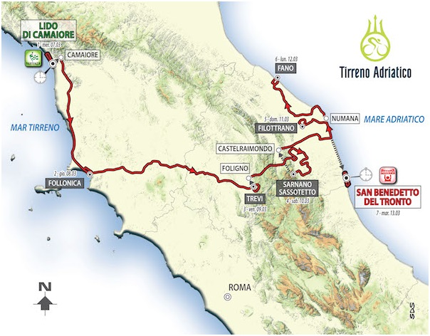 Tirreno-Adriatico 2018: il percorso