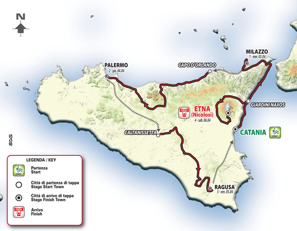 Giro di Sicilia il percorso