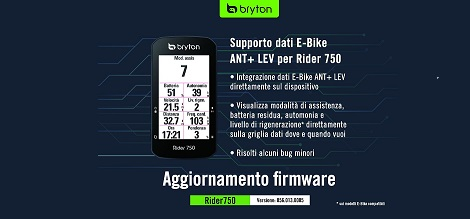 Bryton Rider 750 Aggiornamento ANT+ LEV
