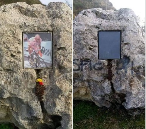 Lo sfregio al monumento a Pantani