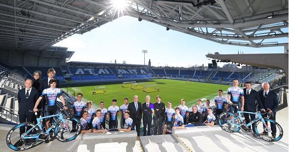 (Nella foto Rodella la nuova Colpack Ballan 2021 al Gewiss Stadium di Bergamo, casa dell'Atalanta).