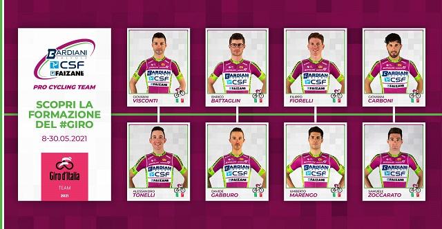 Bardiani, ecco gli otto per il Giro 2021